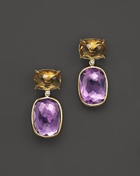 Vianna Brasil 18K Yellow Gold Earrings With Citrine Amethyst And Diamond Accents Multi Gold