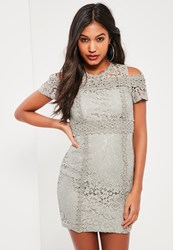 Missguided Grey Lace Cold Shoulder Bodycon Dress
