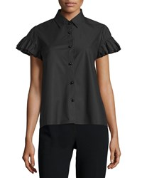 Co Ruffle Sleeve Poplin Blouse Black Size Small