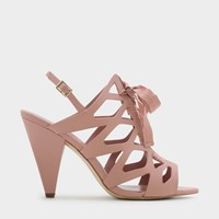 Charles And Keith Laced Up Caged Sling Back Heels Pink