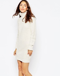 Brave Soul High Neck Jumper Dress With Long Sleeves Oatmeal