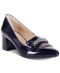 Rialto Marshall Block Heel Dress Pumps Women's Shoes Dark Blue