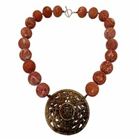 Plumeria Exclusive London Rough Coral Necklace With Carved Pendant Brown