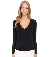 Jamie Sadock Sunsence Light Weight Long Sleeve Layering Under Garment Top With 30 Spf Jet Black Women's Long Sleeve Pullover
