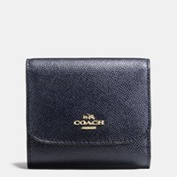 Coach Small Wallet In Crossgrain Leather Light Gold Navy
