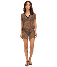 Michael Michael Kors Abstract Jaguar Deep V Cover Up Tunic Khaki Women's Swimwear