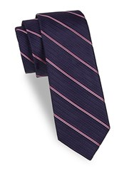 Saks Fifth Avenue Stripe Silk Tie Purple Pink