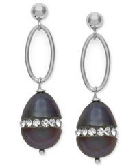 Macy's Sterling Silver Earrings Black Cultured Freshwater Pearl 8Mm And Crystal Earrings