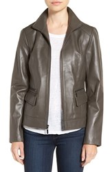 Cole Haan Women's Wing Collar Leather Jacket Dove