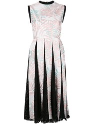 House Of Holland Palm Leaf Pleated Dress Pink Purple