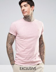 Farah Twisted Yarn Marl T Shirt Exclusive In Pink Pink