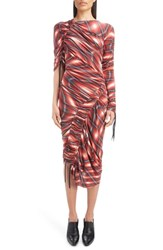 Atlein Wave Plaid Ruched Dress Rouge