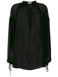 Saint Laurent Sheer Tie Neck Blouse Black