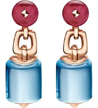 Bulgari Mvsa 18Ct Pink Gold Earrings With Blue Topaz And Rubellite Beads
