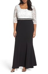 Alex Evenings Plus Size Women's Embellished Waist Colorblock Gown Black White