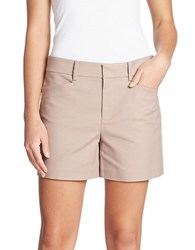 Lord And Taylor Kelly Solid Cotton Blend Shorts Beige