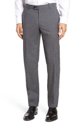 Pal Zileri Men's Flat Front Check Wool Trousers Grey