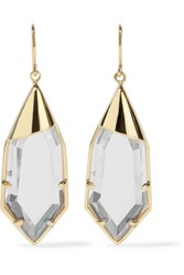 Noir Jewelry White Radiance Gold Tone Crystal Earrings One Size