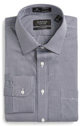 Nordstrom Men's Big And Tall Men's Shop Smartcare Tm Traditional Fit Houndstooth Dress Shirt Navy Peacoat