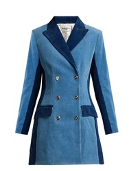 Sonia Rykiel Panelled Double Breasted Corduroy Coat Blue Multi
