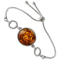 Be Jewelled Round Amber Chain Bracelet Cognac