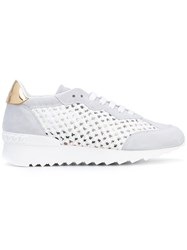 Casadei Braided Net Sneakers Women Paper Kid Leather Calf Suede Rubber 37.5 White