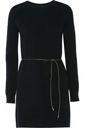 Helmut Lang Belted Wool Blend Sweater Dress