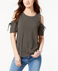 Inc International Concepts Cold Shoulder Lace Up Top Created For Macy's Olive