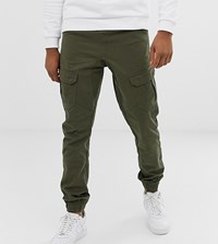 Another Influence Slim Fit Cuffed Cargo Trousers Green