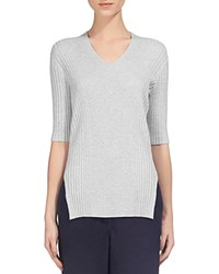 Whistles Ribbed V Neck Top Pale Grey