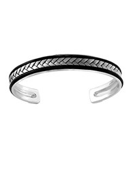 Effy Sterling Silver And Leather Bangle Black