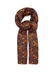 Etro Paisley And Ikat Printed Padded Silk Faille Scarf Black