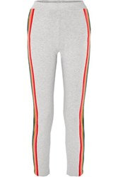 Allude Striped Wool Blend Track Pants Gray