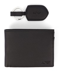 Armani Jeans Black Aj Logo Leather Key Ring And Wallet Set