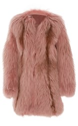 J. Mendel Oversized Fox Fur Coat Pink