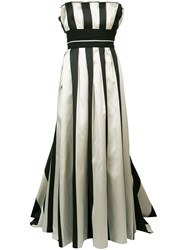 Carolina Herrera Striped Bustier Ball Gown Women Silk Polyester 8 White