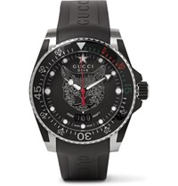 Gucci Dive 40Mm Stainless Steel And Rubber Watch Black