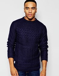 Native Youth Basket Weave Crew Neck Jumper Navy
