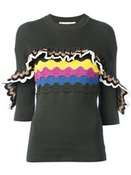 Marni Ruffle Trim Short Sleeved Jumper Green