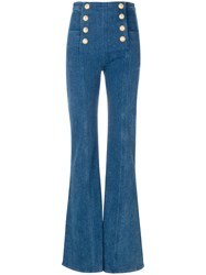 Balmain Button Embellished Flared Jeans Blue