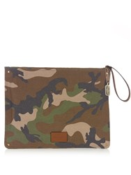 Valentino Camouflage Print Canvas Document Holder Green Multi