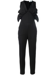 Msgm Ruffled Detail V Neck Jumpsuit Black