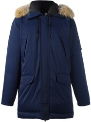 Kenzo Raccoon Fur Trim Puffer Coat Blue