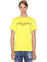 Dsquared Printed Cool Fit Cotton Jersey T Shirt Yellow