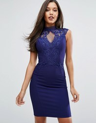 Lipsy Michelle Keegan Loves High Neck Embroidered Lace Bodycon Dress Navy
