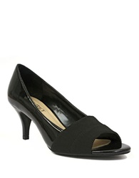 Ellen Tracy Inna Patent Leather And Fabric Open Toe Pumps Black
