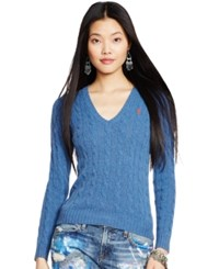Polo Ralph Lauren Cable Knit V Neck Sweater Electra Blue