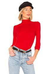 Enza Costa Rib Fitted Turtleneck Red