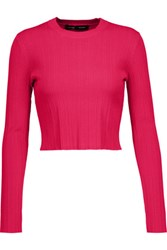 Proenza Schouler Cropped Ribbed Knit Sweater Fuchsia