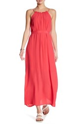 Fraiche By J Ruffle Halter Maxi Dress Pink